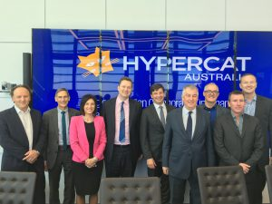 Hypercat Board of Directors at the Australian Launch. L to R, Justin Anderson, Frank Zeichner, Catherine Caruana-McManus, Piers Hogarth-Scott, Angus Taylor MP, Nick McInnes, Dr Mike Briers AO, John Stanton, Chris McLaren