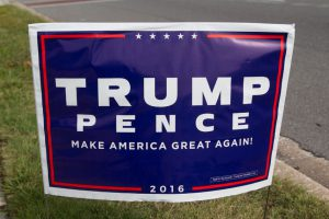 64488602 - jacksonville, fl - october 25, 2016: donald trump presidential supporter sign by the roadside 13 days before the election.